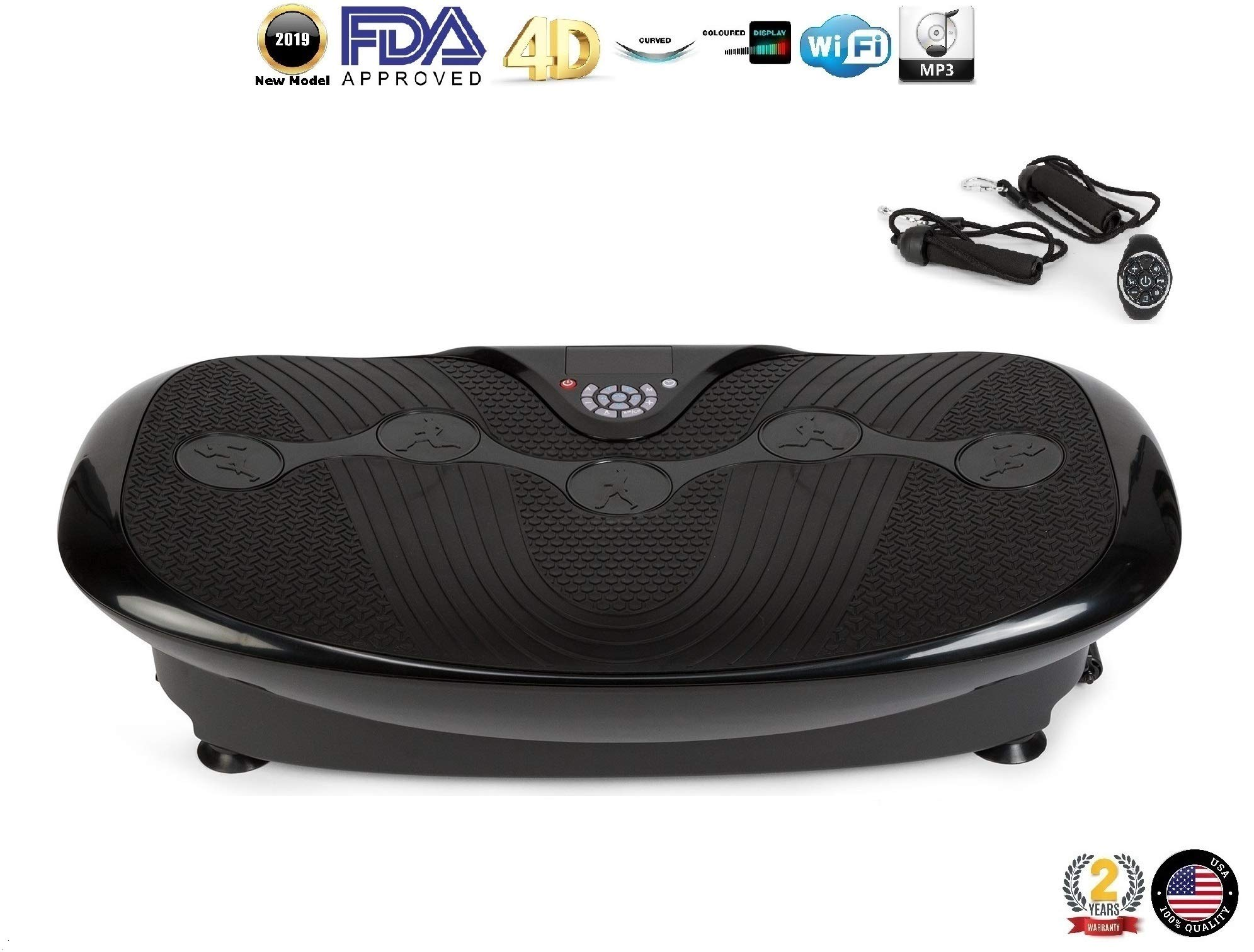 GLOBAL RELAX Zen Shaper Plus Vibration Plate - Black (2019 New Model) - Fitness oscillating Vibration Platform - MP3 Music - 3 Exercise Areas (Walk-Jogging-Running) - 2 Years Official Warranty US by GLOBAL RELAX