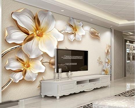 Pareti Doro : Wapel 3d lusso fiore doro gioielli tv parete parete di sfondo