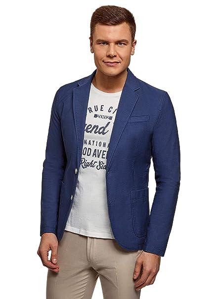 oodji Ultra Hombre Chaqueta Entallada con Bolsillos de Parche, Azul, ES 44 / XS