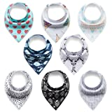 Amazon Price History for:Baby Bandana Drool Bibs, EocuSun Unisex 8-Pack Gift Set for Drooling and Teething, 100% Organic Cotton Soft and Absorbent Bib Set for Boys and Girls, Classic