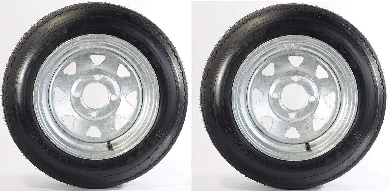 eCustomhitch 2-Pack Trailer Tire On Rim #5233 480-12 4.80-12 LRB 4 Lug Galvanized Spoke