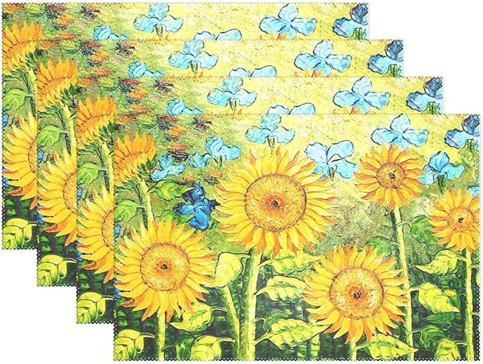 Oil Painting Sunflowers Placemats,Set of 4,Heat-Resistant Washable Table Place Mats Table Decoration,12 X 18 Inches