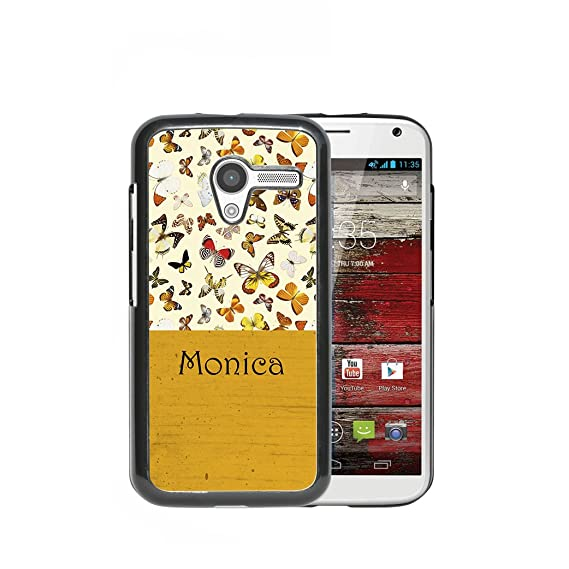 MOTO X - Custom Monogram Name Personalized (MONICA) Butterflies Mustard Yellow Wallpaper Block (