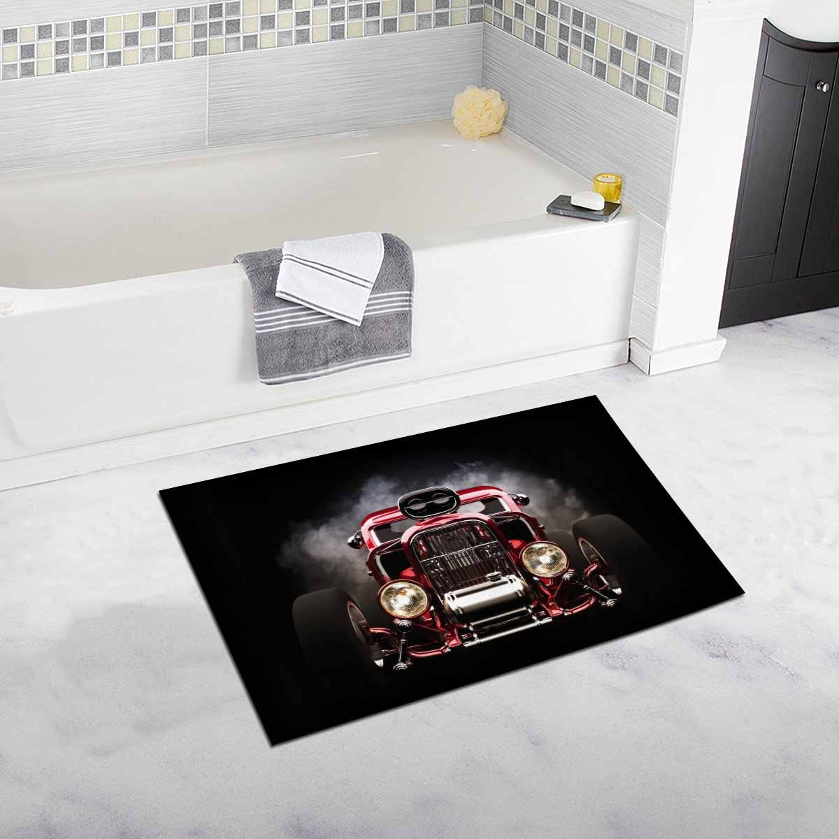 InterestPrint Hot Rod with Smoke Photo Art Bath Mat Soft Bathroom Rugs Non-slip Rubber 20W X 32L Inches high-quality