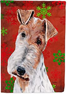 Caroline's Treasures SC9748GF Wire Fox Terrier Red Snowflakes Holiday Flag Garden Size, Small, Multicolor