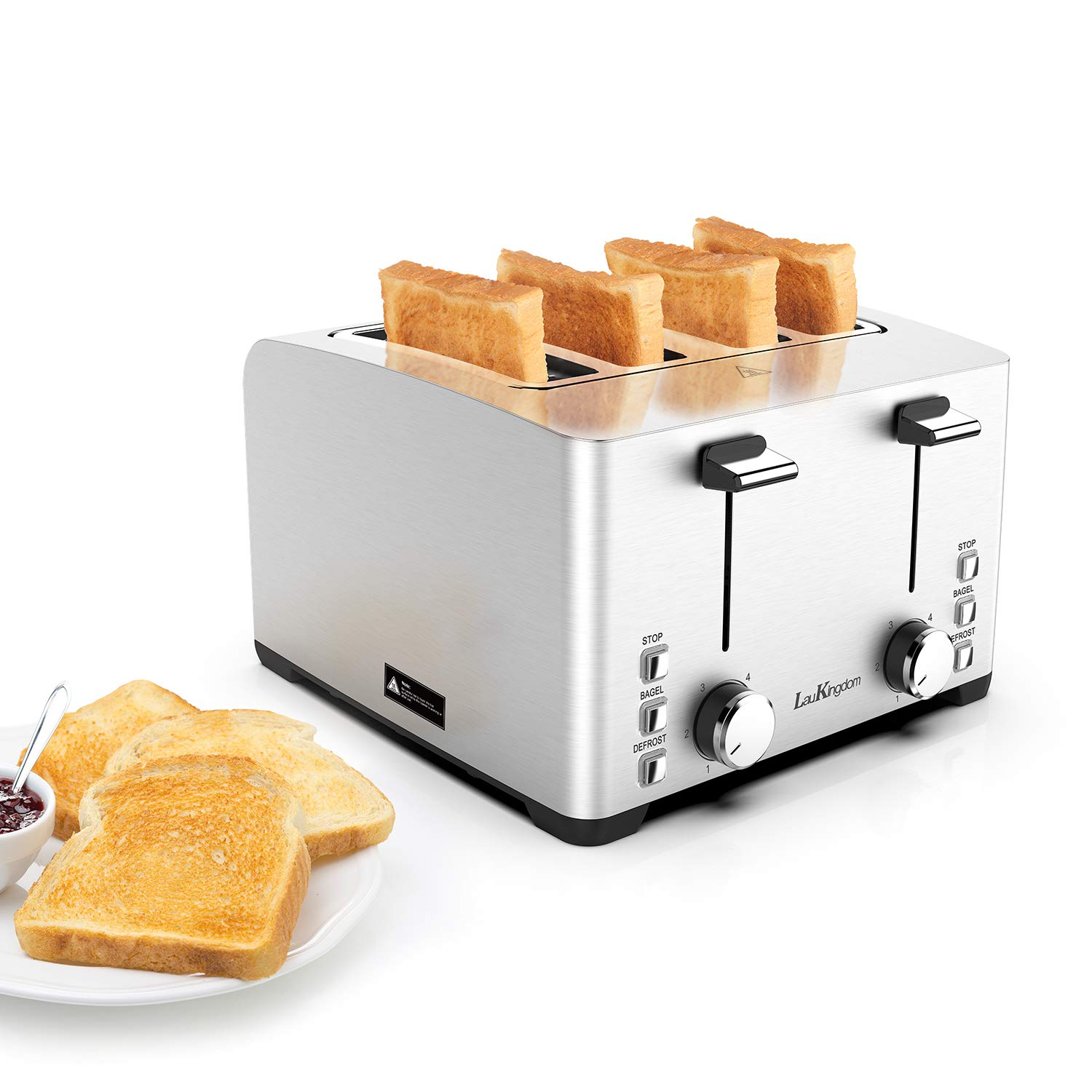 Toaster, Laukingdom Toasters 4 Slice Best Rated Prime, Top Rated Stainless Steel with Stop /Bagel /Defrost Function,Extra Wide Slots, 1500W Silver by Laukingdom