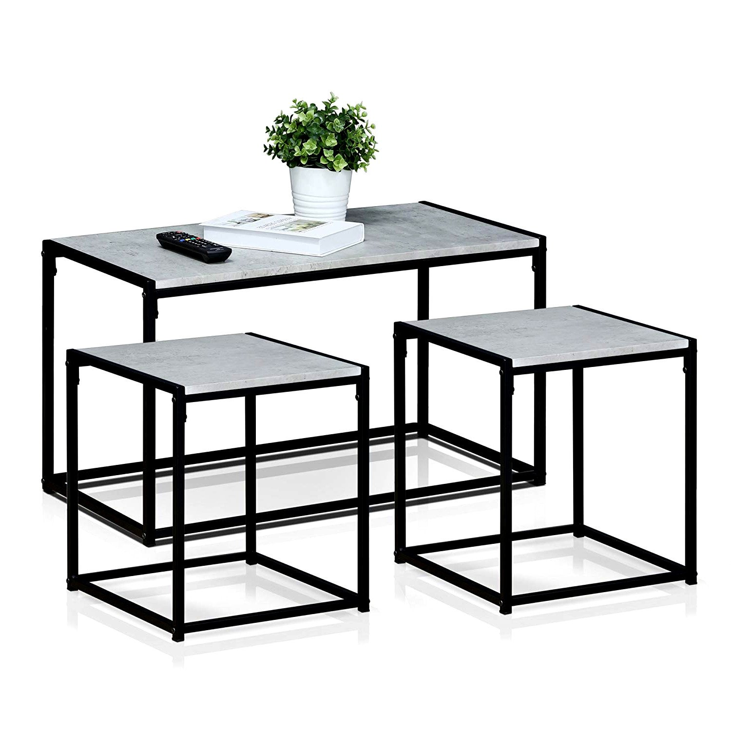 3pc living room set coffee side tables modern minimal low profile stylish stone surface black metal frame home office furniture ebook by easyfundeals