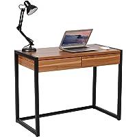 WOLTU® TSG27dc Scrivania Libreria Tavolo da Studio PC Computer con 2 Cassetti Ufficio Lavoro Scaffale Moderno in Acciaio Legno 100x50x76cm