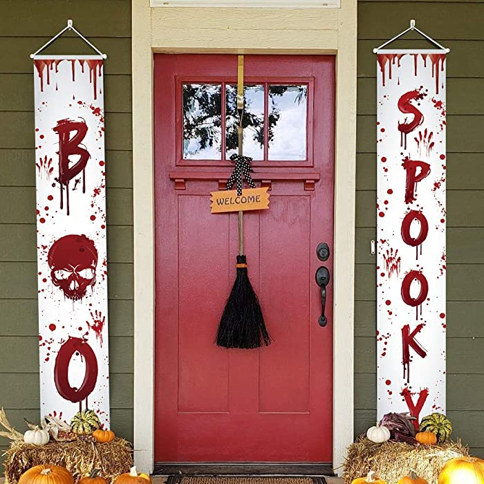 chokeberry Halloween Decorations Outdoor - Boo Spooky Creepy Halloween Decor Banners, Bloody Hanging Banners for Indoor Home Front Door Wall, 600D Fabric Party Decorations, Set of 2