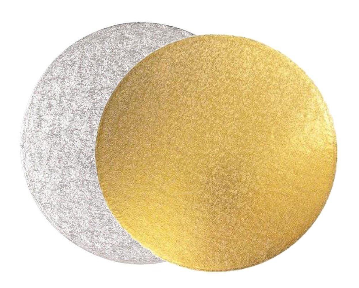 Cake Board | Sottotorta basso rotondo - oro e argento - confezione da 5 pezzi (20cm) Graziano