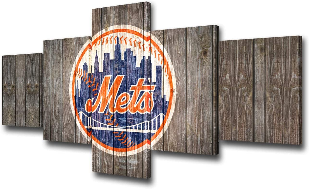 5 Piece Canvas Wall Art New York Mets Team Logo Painting Baseball Team Picture USA Sports Game Poster Artwork Modern House Decor Living Room Wooden Framed Stretched Ready to Hang(50Wx24H inches)