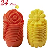 Chefaith 24 Pcs Reusable Silicone Mini Baking Cups, Cupcake Liners, Muffin Cups [12 Sunflower & 12 Rose Shaped Mini Cups, Yellow / Orange] - Non-Stick, Heat Resistant (Up to 480°F) Fun Baking Molds