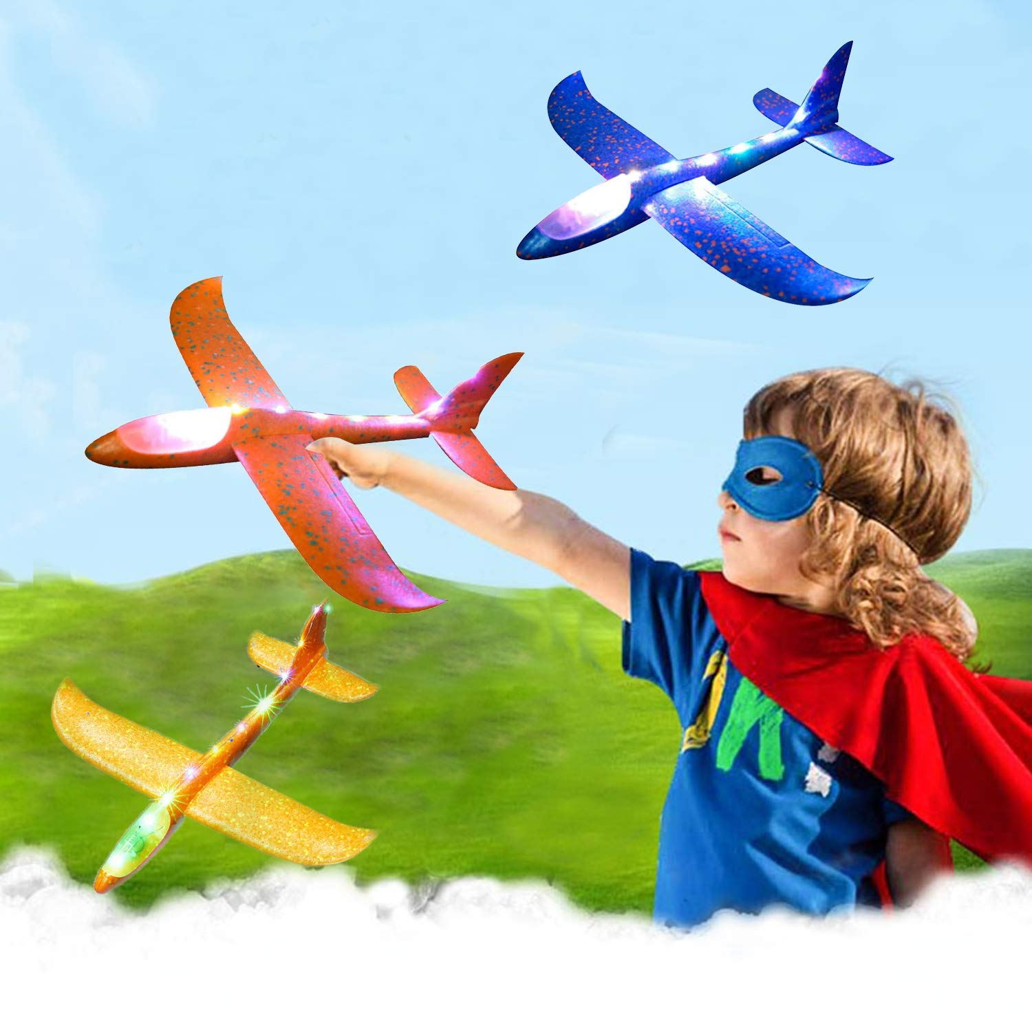 Airplane Toy for Kids, 3 Pack 13.5'' LED Light Up Throwing Foam Airplane Flying Aircraft Plane DIY Glider Aeroplane Model Jet Kit Flying Toys for Boys Girls Teens, Outdoor Sport Game Toys Party Favors by GreaSmart (Image #7)
