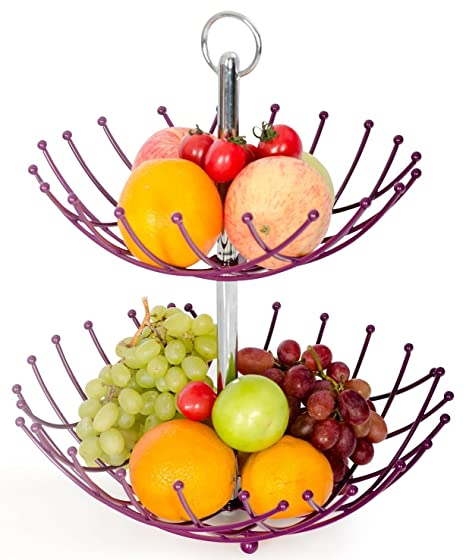 Amazon.com | Fruit Basket Stand By Luxe Premium (Purple) - 2 Tier ...