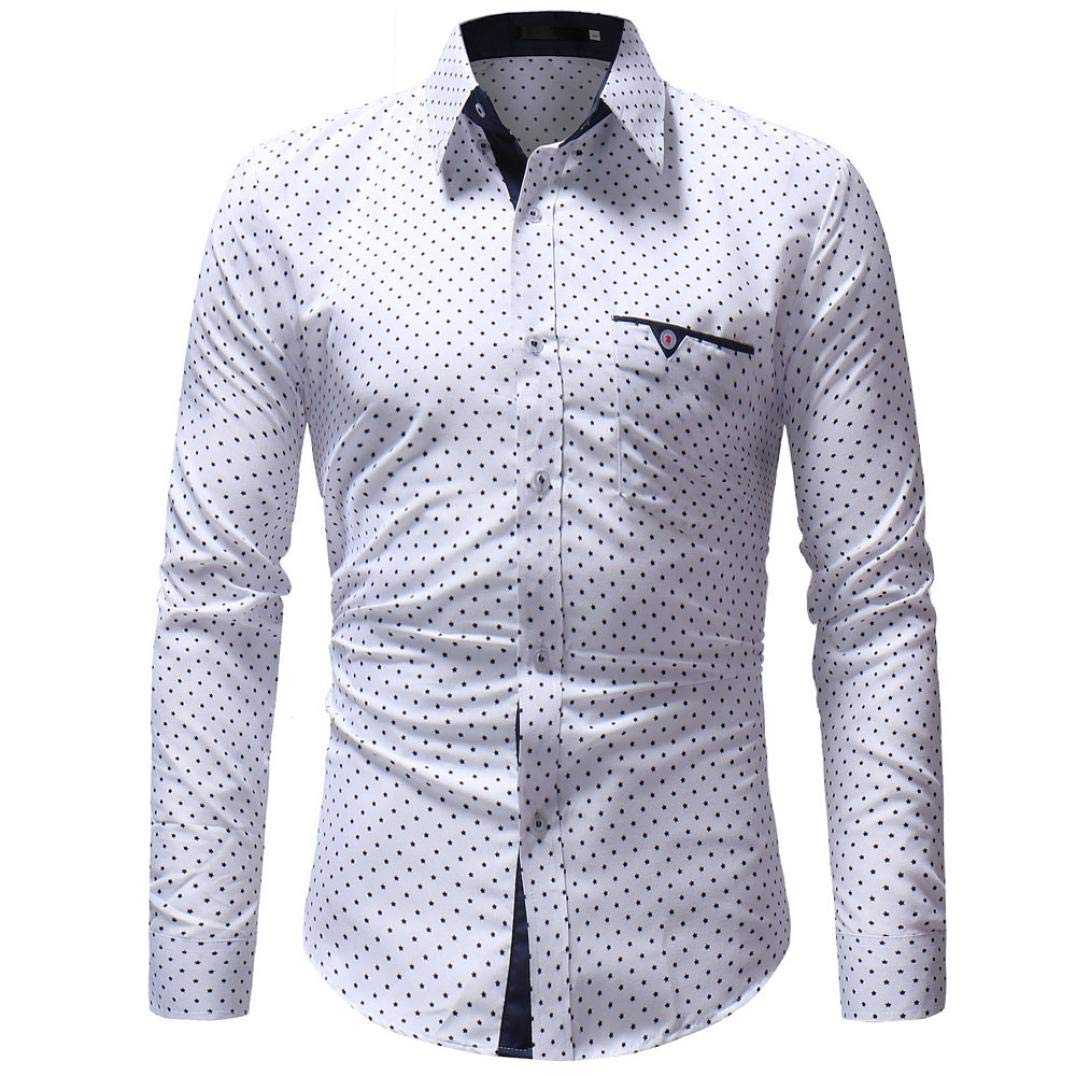 Sunyastor Mens Stylish Polka Dot Long Sleeve Button T Shirt Regular Long Sleeve Casual Down Shirt with Pocket fashion T-shirt