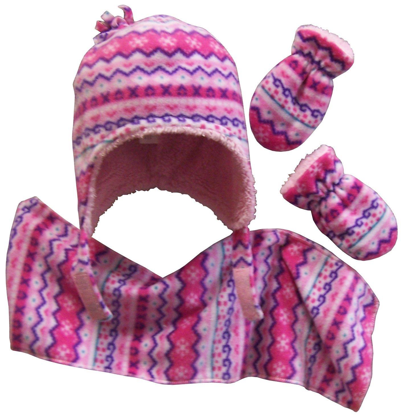 N'Ice Caps Girls and Baby Fair Isle Print Fleece Hat/Scarf/Mitten Set 2881-FR