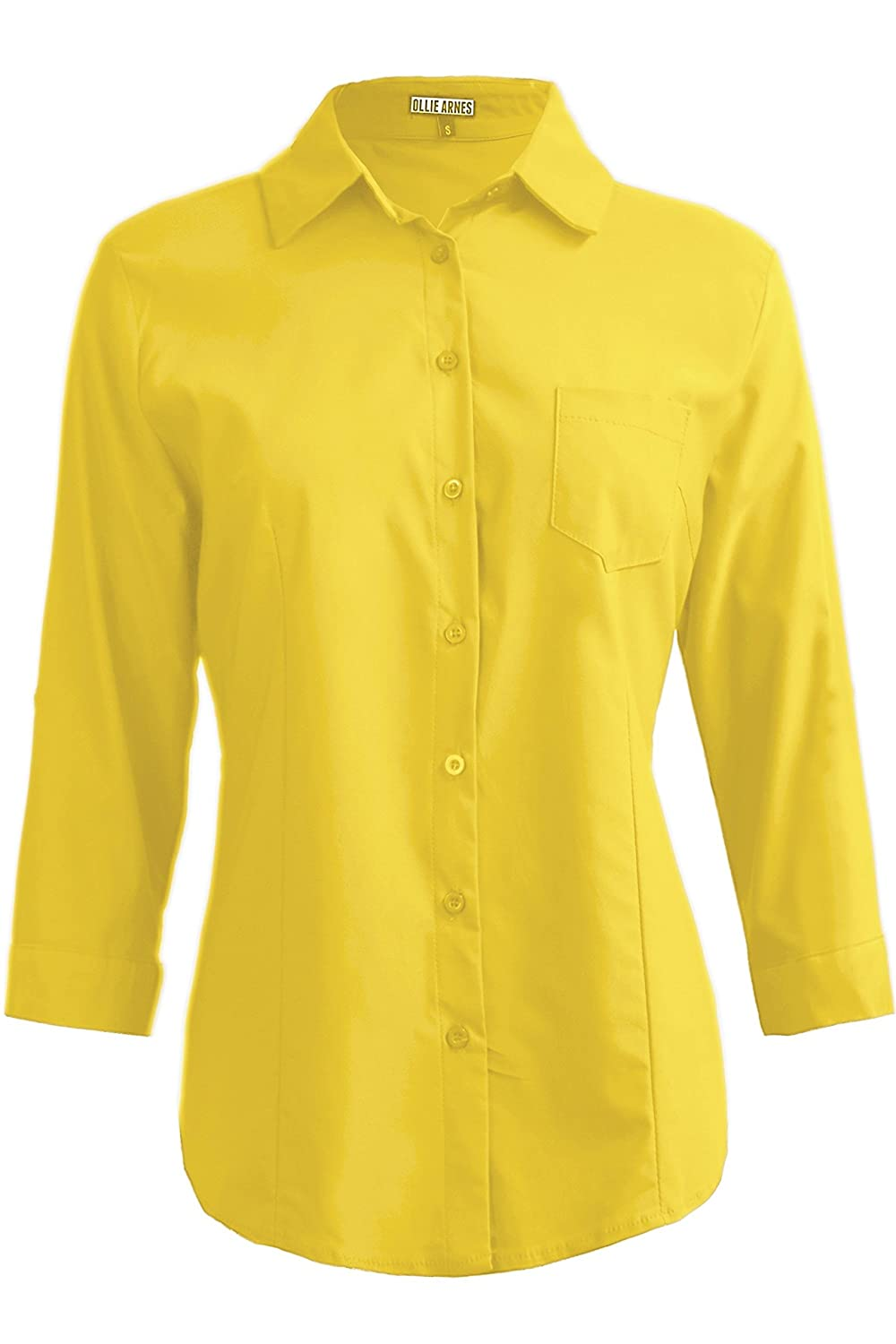 Ollie Arnes Womens Front Pocket Roll up Sleeve Button Bown Chiffon Cotton Blouse