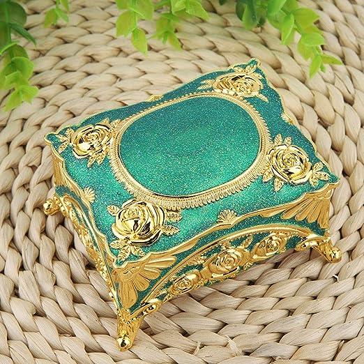 Caja de almacenamiento antigua Caja dorada estilo joya con forma ...
