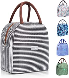 DAS TRUST Upgraded Reusable Insulated Meal Prep Lunch Bag for Women Men Kids Leakproof Freezable Cooler Bag Durable Tote Bag Fashionable Lunchbox Container for Work School Gym Picnic White Black Strip