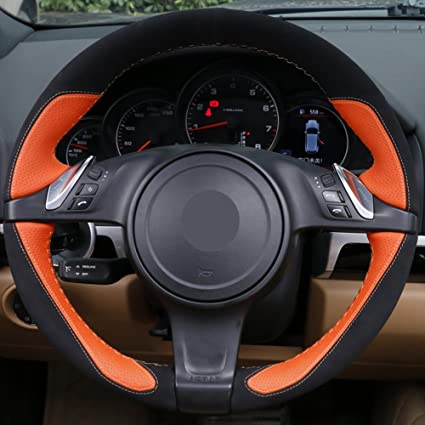 Loncky Orange Black Leather Auto Custom Steering Wheel Cover for Porsche 911 Porsche 911 Carrera S