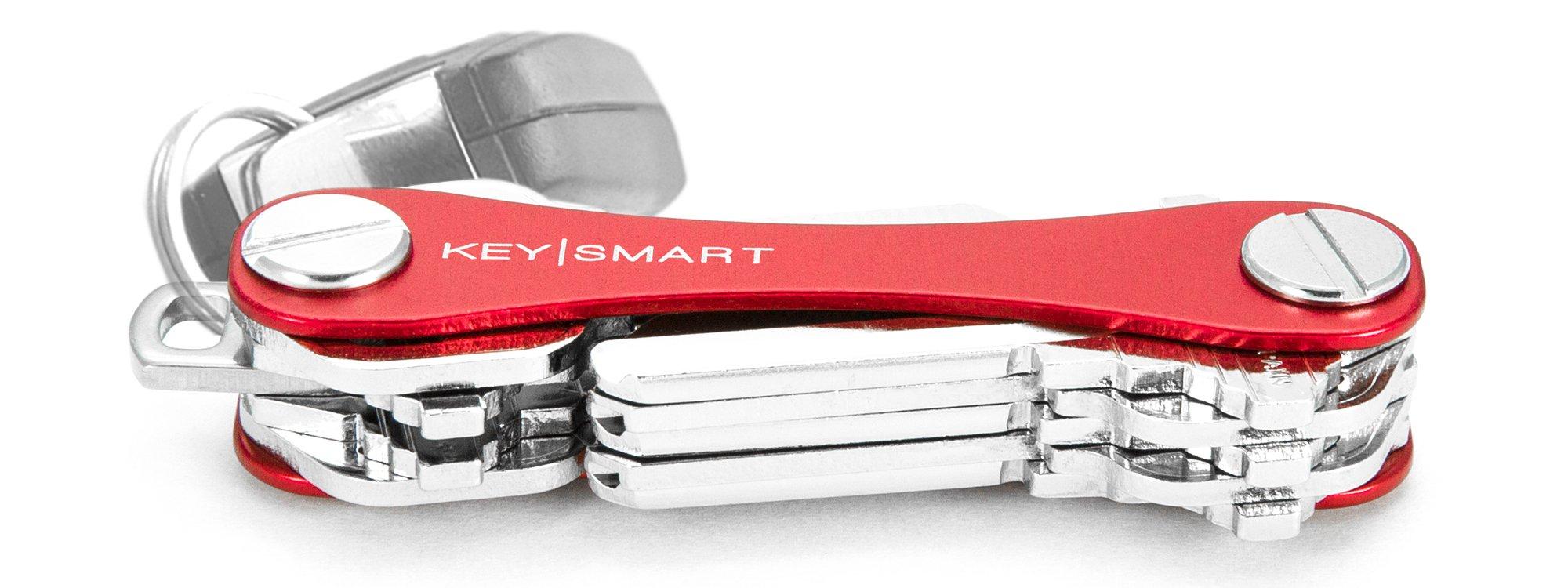 KeySmart Classic | Compact Key Holder and Keychain Organizer (2-14 Keys, Red)