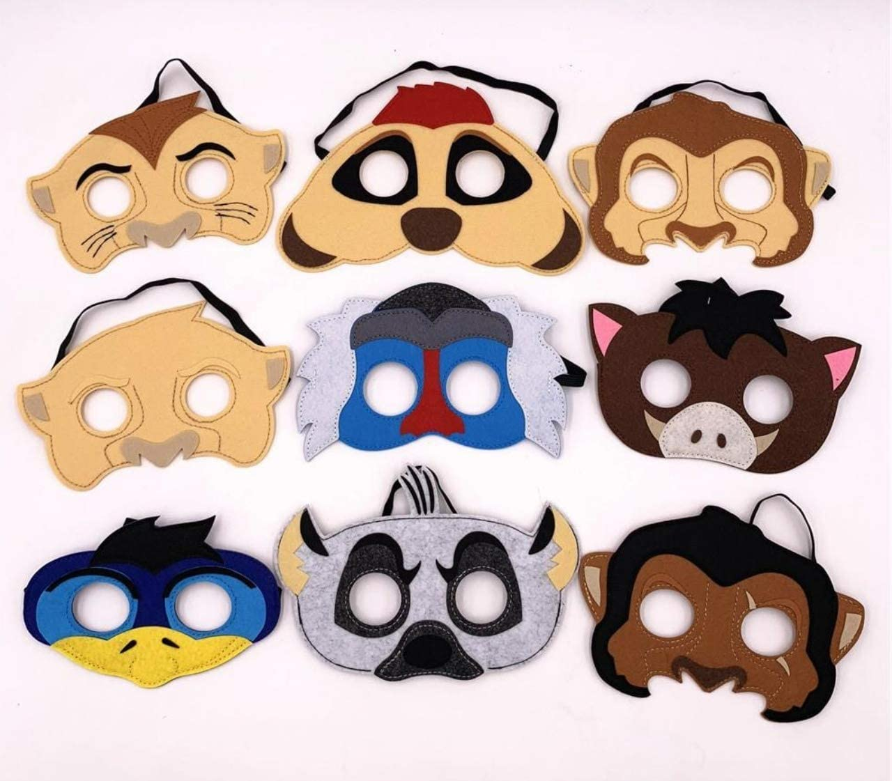 Amazon.com: Juego de 9 máscaras inspiradas en el Rey León ...