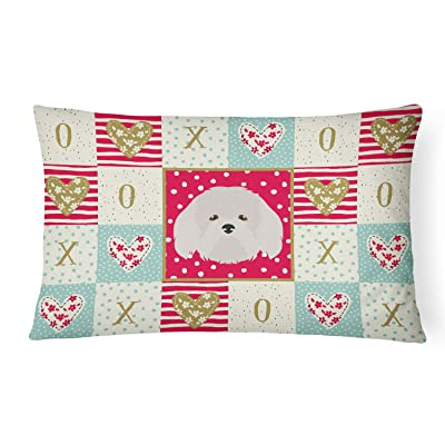 Caroline's Treasures CK5192PW1216 Coton de Tulear Love Canvas Fabric Decorative Pillow, 12H x16W, Multicolor : Garden & Outdoor