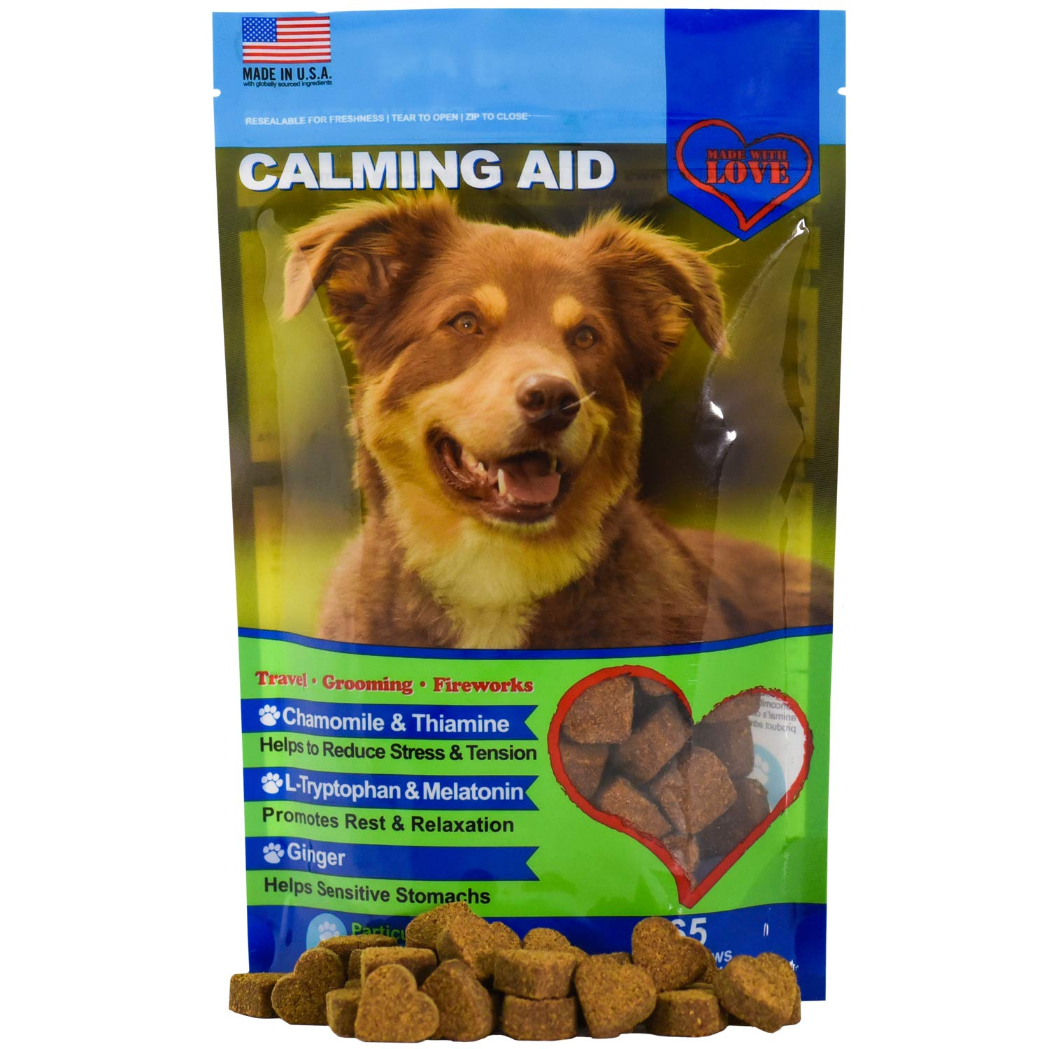 Calming Treats for Dogs - Melatonin, L Tryptophan, Chamomile Flower, Passion Flower and Thiamine Mononitrate by Particular Paws