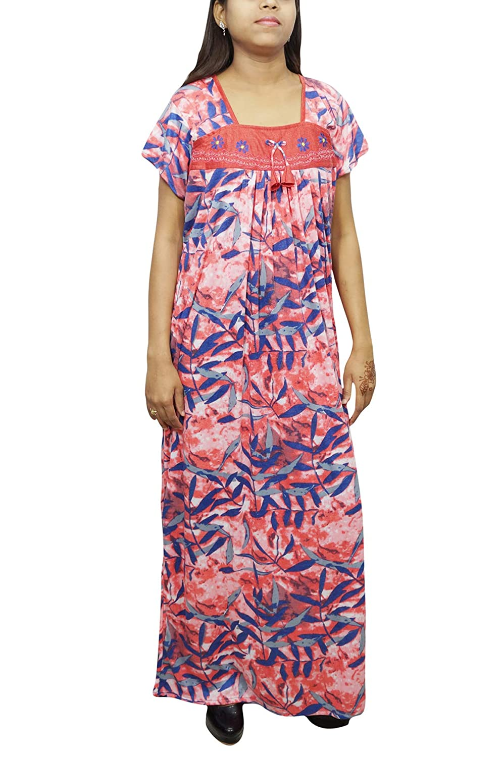 Indiatrendzs Women s Printed Maxi Nightgown Loose Fit Hosiery Nighty Peach  Blue  Amazon.in  Clothing   Accessories f63d895b9