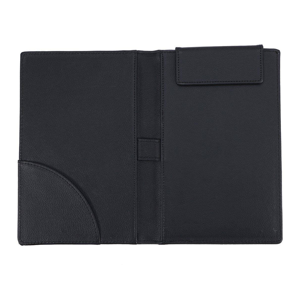 VORCOOL PU Leather Menu Folder Guest Check Presenter with Pen Clip for Hotel Bar Salon KTV Restaurant (A067 Black)