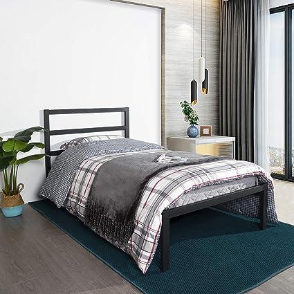 Aingoo Cama de Metal Cama Individual con Soporte de Listones de Madera y somier para colchón de cabecera, 90x190 cm