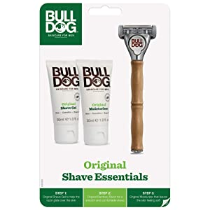 Bulldog Skincare and Grooming Original Razors for Men Shave Kit with Original Shave Gel and Original Moisturizer