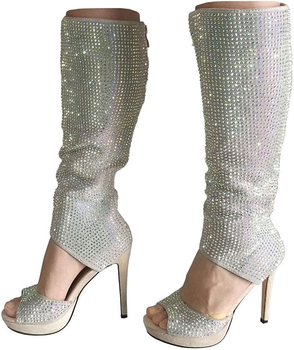 Women Shoes Open Toe Bling Shoes High Heels Zip Up Ankle Boots Sandals US Size
