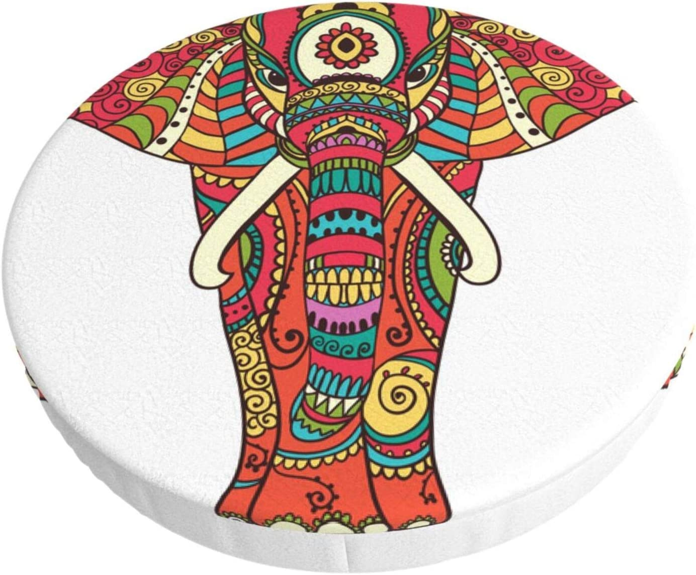 ALOVEUZ Round Bar Stool Cushions Covers Tribal Style Boho Mandala Elephant Non Slip Round Seat Cover Protector Stretch Barstools Velvet Slipcover for Backless Adjustable Height Chair with Wheels