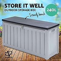 Gardeon 240L Outdoor Storage Box Bench Seat-Black and Grey
