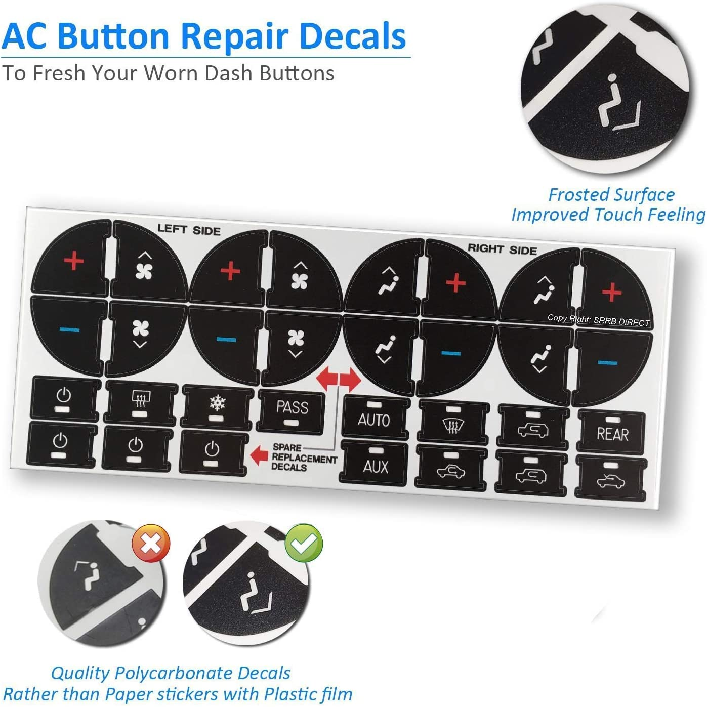 AC Dash Button Repair Kit Sticker For GM Vehicles Fix Ruined Faded A//C Controls