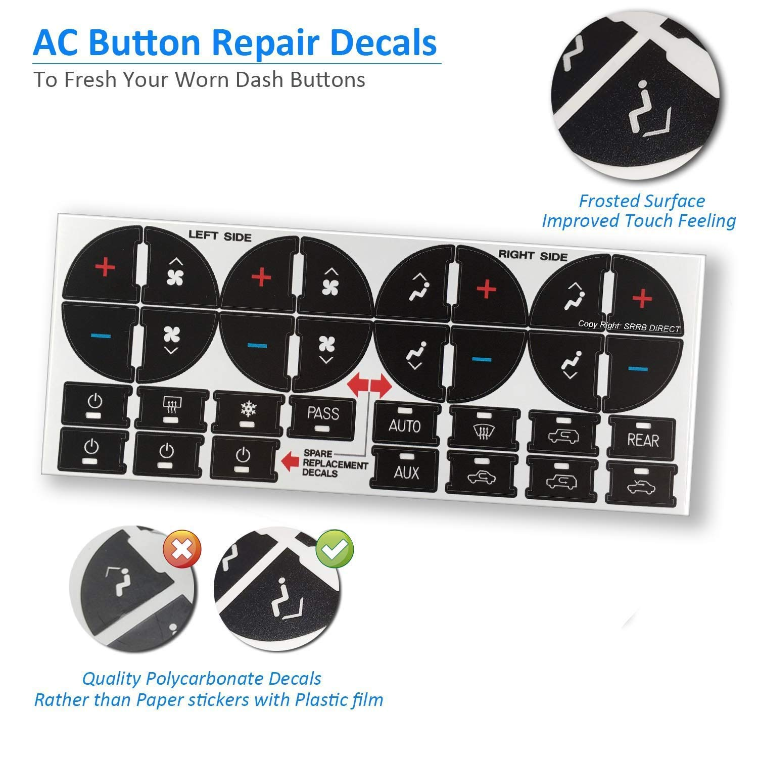 Demlor AC Dash Button Repair Kit for Select GM Vehicles - Fix Ruined Faded  A/C Controls