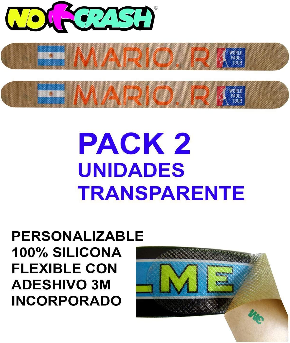 No+Crash Protector 100% Transparente Flexible Muy Resistente DE Silicona Pack 2 Unidades