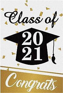 Meltelof Class of 2021 Garden Flag, Congrats Garden Flag, 2021 High School College Graduation Porch Decor, 2021 Graduation Outdoor Home Decor -12x18 Inch Double Side