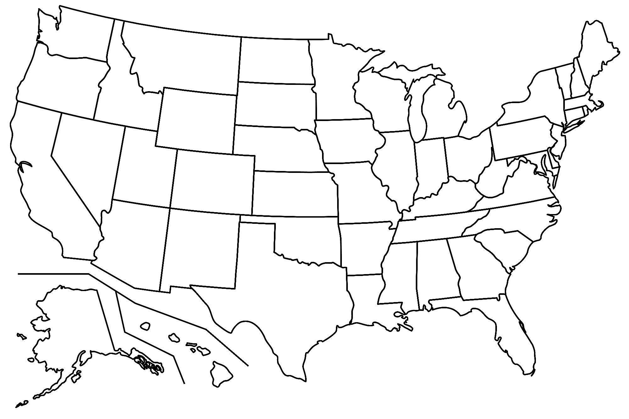 BLANK UNITED STATES MAP GLOSSY POSTER PICTURE PHOTO america usa cool