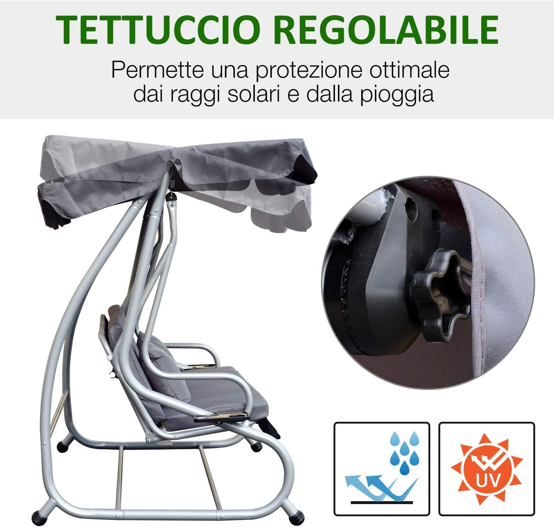 Outsunny Dondolo Letto da Giardino 3 Posti Schienale Reclinabile Tetto Regolabile Tessuto Poliestere 200 /× 120 /× 164cm Grigio