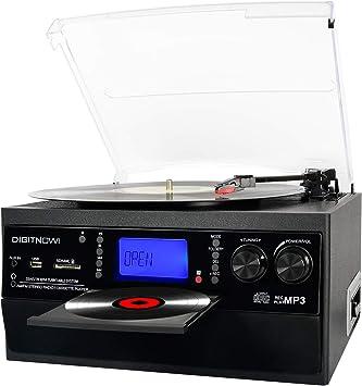 DIGITNOW! Tocadiscos Bluetooth Plato Giradiscos Vinilo,CD,Cassette ...