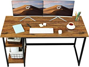 "GreenForest Computer Desk 55"" Writing Table with 2-Tier Reversible Storage Shelves Large Size Home Office Study Gaming Desk Workstation,Walnut"
