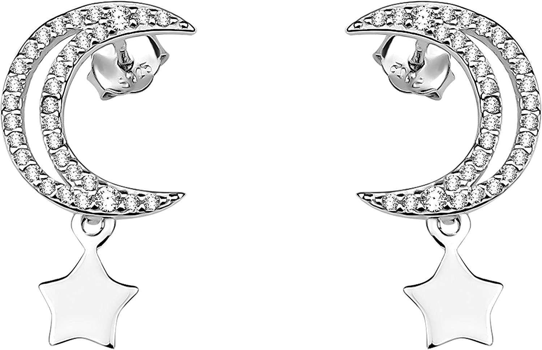 SOFIA MILANI Pendientes Mujer Colgantes Luna Estrellas Plata de Ley 20661