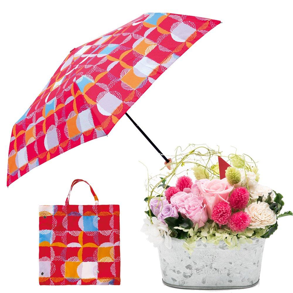 母の日ギフト プリザーブドフラワーと折り畳み傘のギフトセット B07CJWZDSC お花:Lサイズ|ウロコグリッド/ピンク ウロコグリッド/ピンク お花:Lサイズ