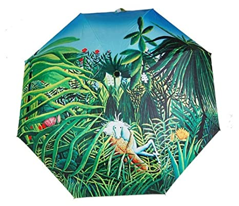 Katoot@ Rousseaus oil painting Horse Attacked by a Jaguar sun rain umbrella 3 fold manual