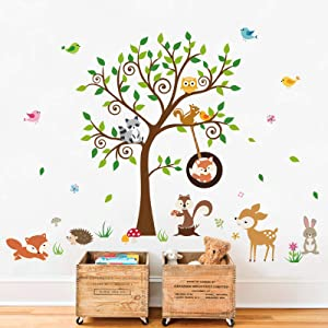 decalmile Forest Animals Tree Wall Decals Fox Squirrel Deer Wall Stickers Baby Nursery Kids Bedroom Playroom Wall Decor