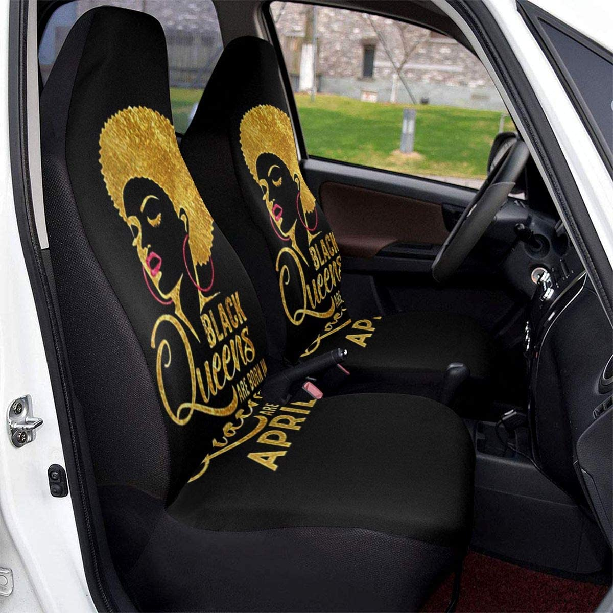 TAK-JK6 Car Seat Covers Black Queens are Born in April Front Seat Protectors Cushion Compatible with Most Cars Truck SUV Van