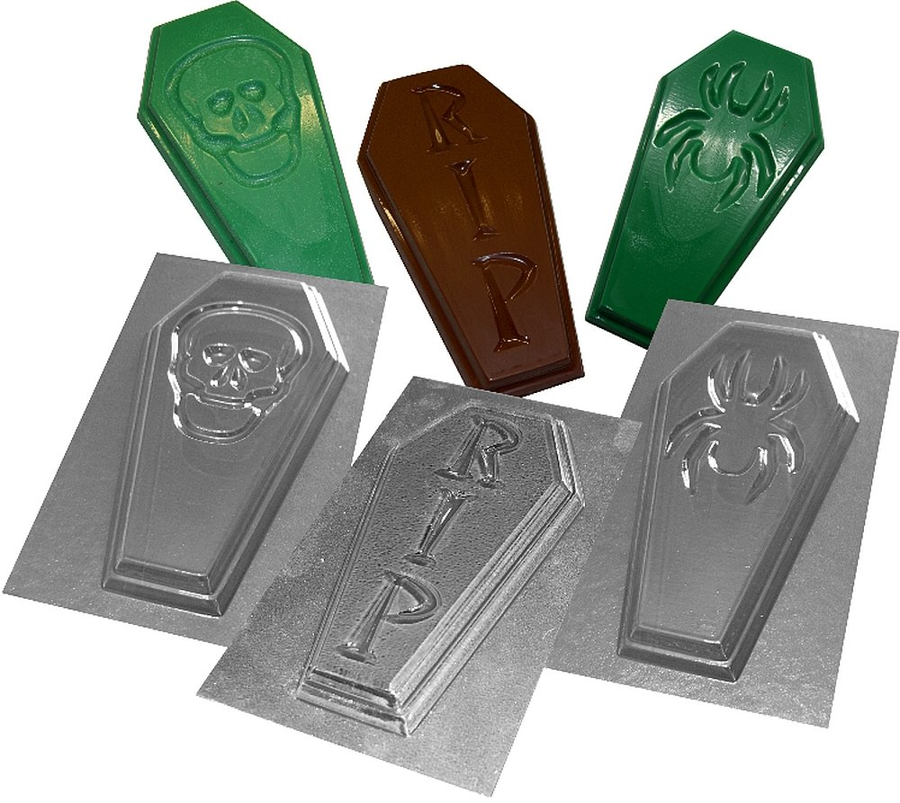 3 Coffin Shaped Chocolate Bar Molds Transparent Plastic Halloween Moulds SKULL SPIDER RIP design Set A dennycraftmoulds.co.uk