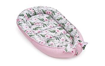 Kuschelnest Kissen 2seitig Nestchen f/ür Babybett JUKKI/® Babynest Babynestchen 120x65 cm Babykokon Reisebett f/ür Baby und S/äuglinge 100/% Baumwolle
